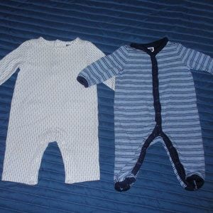 Janie and Jack Lot of 2 Boys Romper Footie 0-3m